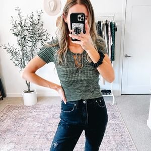 FOREVER 21 Olive Green Marbled Lace up Ribbed Crop Top